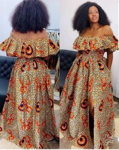 African print off shoulder maxi dress / high slit / with pockets /Ankara/African Clothing/African Fashion/Ankara Clothing/Cut out/kente African Wear Dresses, African Fashion Ankara, Latest African Fashion Dresses, African Print Fashion, African Attire, African Prints, Ankara Mode, African Print Jumpsuit, Nigerian Dress