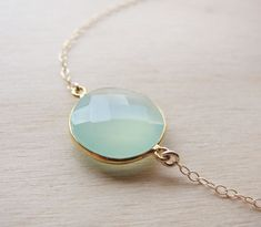 We have this stone in earrings and rings! LOVE! Aqua Chalcedony:)
