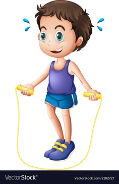 Vector Fisica A young man playing with the skipping rope Vector Image Yoga For Kids, Exercise For Kids, Art For Kids, Exercise Activities, Gross Motor Activities, Physical Education Lessons, Kids Education, Cartoon People, Cartoon Pics