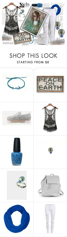 """""""Peace on earth"""" by giampourasjewel ❤ liked on Polyvore featuring OPI, Zara TRF and shein"""