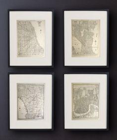 Vintage Framed City Maps