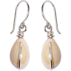white shell earring - UK - front view