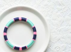 Mint Navy Pink Geometric Thread Wrapped Bangle by theglossyqueen, $24.00