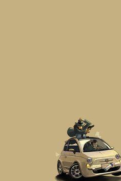 Fiat 500 Heist in Progress Fiat 500, Manga Anime, Anime Art, Lupin The Third, Car Illustration, Car Drawings, Anime Figures, Anime Comics, Comic Art
