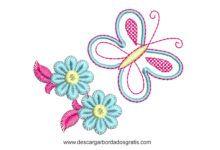 Diseño Bordado de Mariposa con Flores