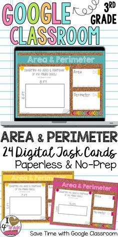 3rd grade math | Area and Perimeter Activity | Google Classroom Ideas | Looking for a fun way to practice area and perimeter with your students? Digital Task Cards are fun and engaging without all the prep work.