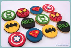 2013 birthday ideas......Superman, The Hulk, The Green Lantern, Spiderman, Captain America, Batman... theyre all here in Cookie form... mixture of chocolate and vanilla iced cookies
