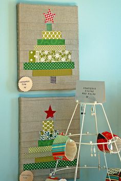 fabric scrap christmas tree-use scrapbook paper