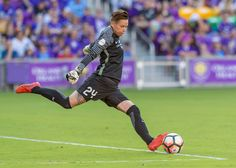 Orlando Pride goalkeeper Ashlyn Harris (24) goal kick During the NWSL soccer match between the Orlando Pride and North Carolina Courage on May 14th, 2017, at Orlando City Stadium in Orlando FL.