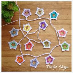 Quick, Easy & Beautiful! • Perfect garland to complete your space. • Wonderful present for a baby shower or for an older girl to decorate her bedroom. #crochet #bunting #garland #star #motif #gift #present #babyshower Modern Crochet Patterns, Kids Patterns, Crochet Designs, Design Patterns, Star Garland, Bunting Garland, Crochet Stars, Crochet Bunting, Crochet Borders