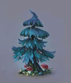 Fir-tree, Josephine Sun on ArtStation at https://www.artstation.com/artwork/3aKyv: