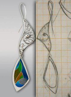 Sketches, earrings, silver, enamel, filigree, cloisonne enamel.
