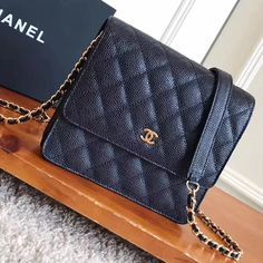 9c198a68453fa Chanel Grained Calfskin Classic Wallet On Chain WOC Bag A84310 Black 2017