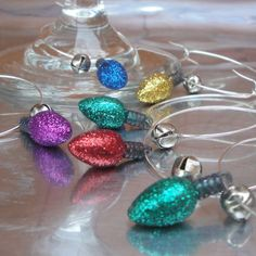 Glitter Christmas Lights Wine Glass Charms  Set by HardySupplyCo. could make these!