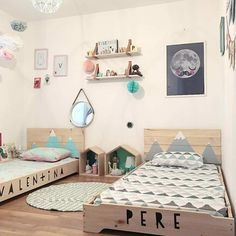 Shared bedroom brother and sister for children. Unisex Bedroom Kids, Boy And Girl Shared Bedroom, Baby Bedroom, Baby Boy Rooms, Girl Room, Girls Bedroom, Unisex Baby, Toddler Rooms, Toddler Bed