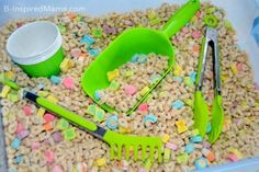 Patrick's Day Cereal Sensory Play Using Lucky Charms Cereal for Sensory Play at B-Inspired Mama Toddler Crafts, Preschool Crafts, Toddler Activities, Toddler Play, Preschool Classroom, Family Activities, March Crafts, St Patrick's Day Crafts, Spring Crafts