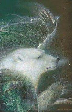 Beautiful polar bear painting