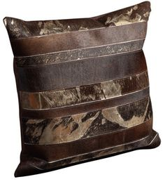Carwill Natural Leather Hide Throw Pillow