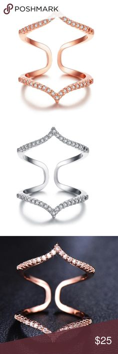 2 FOR $30 Bella Chevron Ring Available in Rose Gold and Silver.  CZ stones. Jewelry Rings