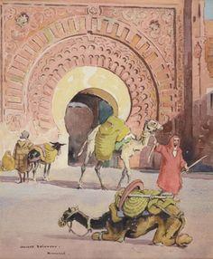 Chamelier devant une porte à Marrakech von Edouard Edmond Doigneau
