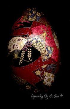 Kimono Fans Chiyogami Japanese Yuzen Inspired Easter Egg Pysanky By So Jeo