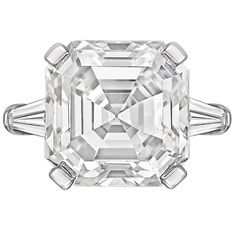Bulgari 9.49 Carat GIA Cert Asscher-Cut Diamond Platinum Ring   From a unique collection of vintage engagement rings at https://www.1stdibs.com/jewelry/rings/engagement-rings/