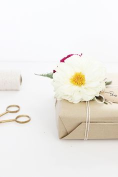 Floral gift wrapping.