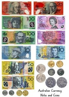 Australian currency printables - notes & coins free still as of 11/03/15. Good qual images