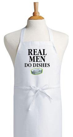 Humorous Cooking Aprons Real Men Do Dishes Novelty Chef Apron 1479effbf93e