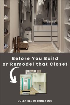 The ultimate guide to closet designs. Plan, build, or renovate your dream closet to the correct dimensions. This guide lays out the specifics on the required dimensions needed for each aspect. #closet #design #home #improvement #storage Reach In Closet, Build A Closet, Closet Space, Small Closets, Dream Closets, Storage Ideas, Storage Spaces, Closet Island, Perry Homes