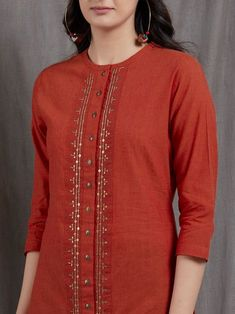 Buy Orange Hand Embroidered Cotton Silk Kurta online at Theloom