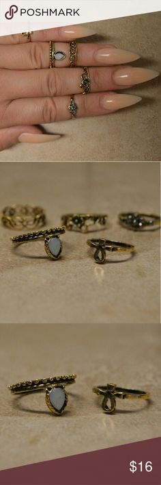 Brand New Set of 5 Bohemian Hippie Gold Rings Comes with five adorable gold rings. Great for stacking to create a Boho chic look or wearing alone. Look great as midi or knuckle rings or wear each as a more traditional ring.  Different designs including Gypsy, geometric, floral, stone, etc.   Mixed sizes 5 and 6. Jewelry Rings