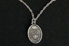 First Holy Communion Necklace. Christian Necklace. Communion Medal Necklace. Catholic Charm Necklace. Christian Jewelry. Religious Necklace. by GatheringCharms from Gathering Charms by Gilliauna. Find it now at http://ift.tt/1NQp5nC!