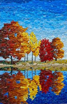 Mosaic stained glass art is constructed on a hollow terracotta sphere. Mosaic Crafts, Mosaic Projects, Art Projects, Mosaic Ideas, Stained Glass Art, Mosaic Glass, L'art Du Vitrail, Landscape Art Quilts, Mosaic Artwork