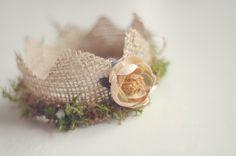 Newborn Mini Burlap and Moss Crown, Newborn Photography Prop. $25.00, via Etsy.