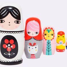 Coup de coeur! ❤️ Fleur & Friends Nesting Dolls. Painted by hand, each doll is unique! Available at @toyhoodstore