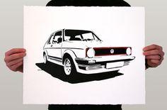 Classic Car Print - VW GTI Mk1 - Limited Edition Golf Gti Mk2, Volkswagen Golf Mk1, Vw Mk1, Sports Car Photos, Golf 2, Stencil Printing, Car Illustration, Aesthetic Drawing, Car Drawings
