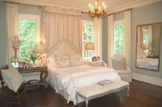 eliware: Lori Tippins Interiors - White headboard with nailhead trim, bench and blue walls paint ...