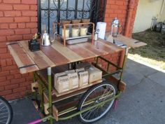 for Soup , strap in large pots, have hot plates ? Coffee Shop Bar, Coffee Carts, Coffee World, Coffee Is Life, Mobile Coffee Cart, Coffee Food Truck, Concession Food, Bike Food, Pop Up Cafe