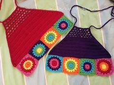Starburst Rainbow Granny Square Crochet Tops