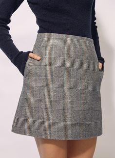 Check Mini Skirt, Mini Skirt Style, Wool Mini Skirt, A Line Mini Skirt, Women's Mini Skirts, Summer Skirts, Cute Skirts, Skirts With Pockets, Gingham Skirt