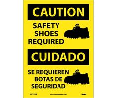 Caution, SAFETY SHOES REQUIRED (GRAPHIC), Bilingual, 14X10, PS Vinyl