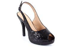 Black glitter Peep toe sandals with stiletto heel. Size UK 2,5 EU 35