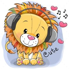 Buy Cartoon Lion with Headphones and Hearts by on GraphicRiver. Cute cartoon Lion with headphones and hearts on a blue background Cartoon Lion, Cute Cartoon Animals, Baby Animals, Cute Animals, Cartoon Drawings, Animal Drawings, Cute Drawings, Lama Animal, Lion Drawing