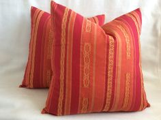 Mexican Designer Pillow Cover Set  Red/ by PricelessInteriors