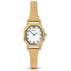 Sekonda Gold-plated Ladies Watch | J D Williams ($49) ❤ liked on Polyvore featuring jewelry, watches, gold plated watches, bracelet watch, white bracelet watch, white wrist watch and watch bracelet