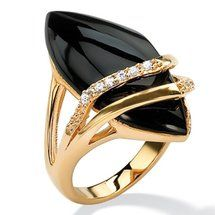 Walmart: Palm Beach Jewelry Marquise-Shaped Onyx and Cubic Zirconia Ring