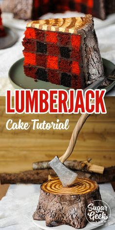 Learn how to make this amazingly awesome lumberjack cake from Liz Marek of the Sugar Geek Show. Liz is the original creator of the Lumberjack cake. She shows us how to make the perfect buffalo plaid cake pattern inside, buttercream rings, gravity defying modeling chocolate axe and bark texture step-by-step. #lumberjack #lumberjackcake #fathersday #plaid #cakestructure #redvelvet #birthdaycakesformen