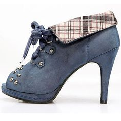 Fashion Womens Blue Gothic Punk Open Toe Lace up Boots SKU-143004