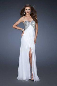 Center White Slit Gown by La Femme 18577